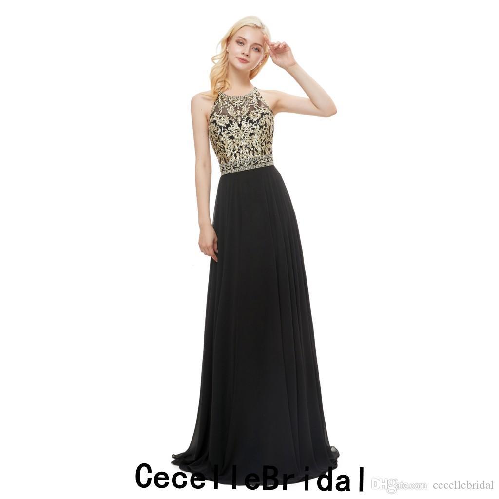 Compre 2019 Vestidos De Noche Largos De Gasa Negra De Una Línea Simple Halter Encaje Dorado Adolescentes Elegantes Ropa De Noche Formal Vestido De
