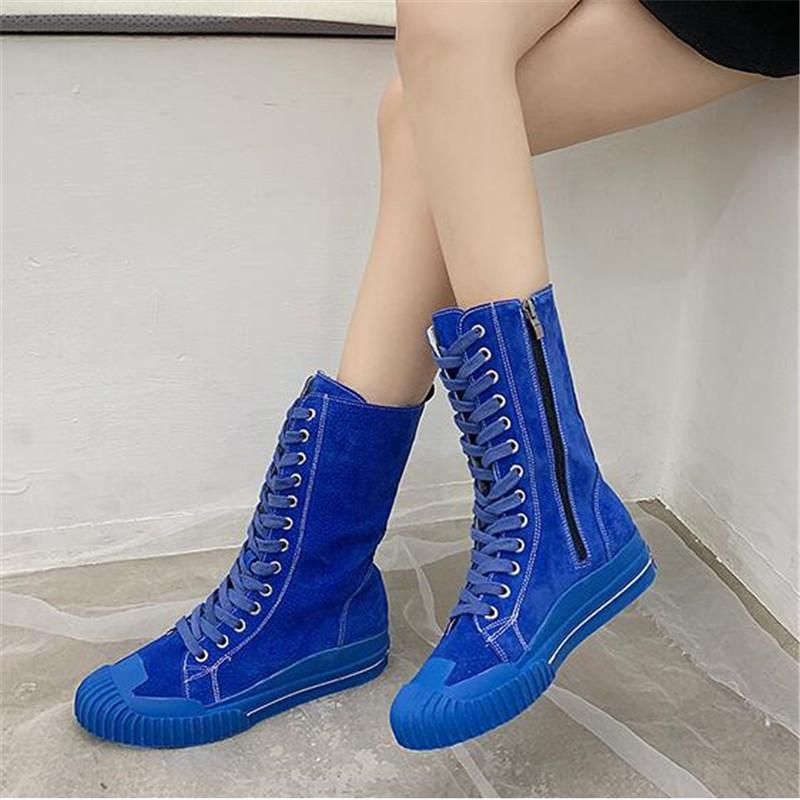 Moda Kadın Orta Buzağı Boots İlkbahar Sonbahar Dantel Yukarı Süet Deri Çizme Flats topuk Kampüs tarzı kız Günlük Ayakkabılar Botaş Mujer