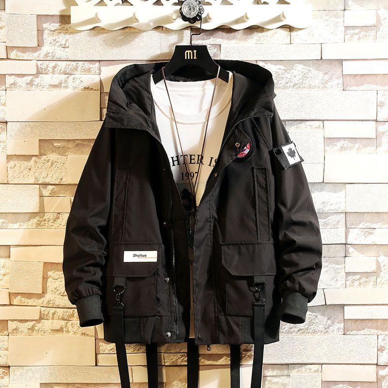YASUGUOJI 2020 Männer Jacke Mäntel beiläufige Windjacke Bänder Taschen Herren Overalls Bomberjacke Street Mann Outwear