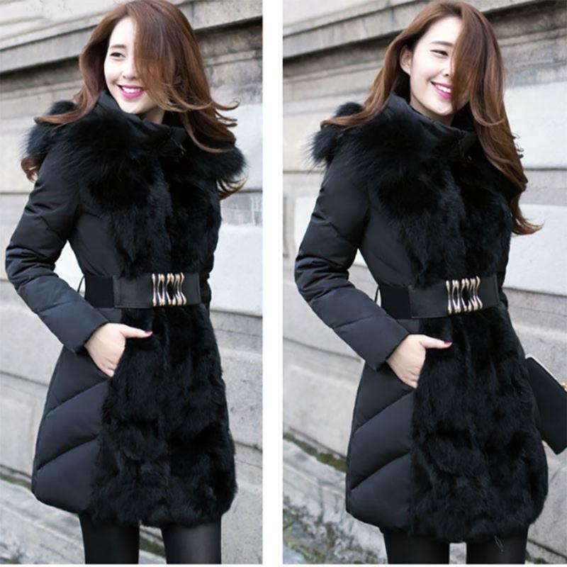Marca al por mayor-moda elegante de las mujeres caliente de invierno por la chaqueta Parka de piel señoras delgadas sudaderas con capucha larga capa barata Cinturón Manteau Femme Mujer