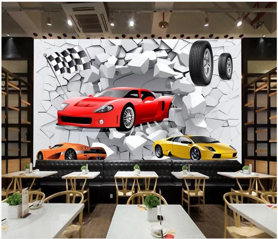 WDBH 3d wallpaper custom photo mural Broken wall racing car background living room home decor 3d wall murals wallpaper for walls 3 d