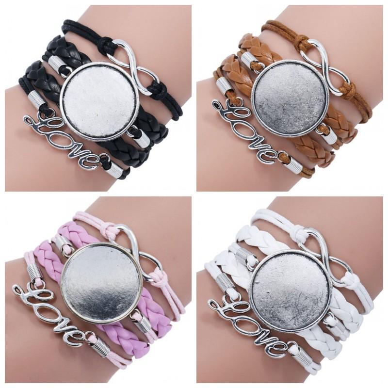 Blank Kettenarmband-Leder-Verpackungs-Armband gesponnenes Armband Sublimation Blanks Armband Liebhaber spezieller Buchstabe Geschenk-Farben-Mix 4 4syaH1