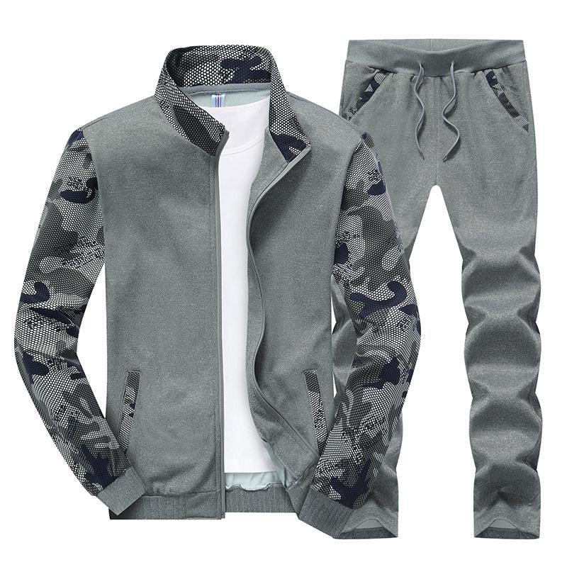 Nova Primavera Camouflage Treino Mens Set Sportswear 2 Peça Set Sporting Terno Jaqueta + calça Plus Size 4XL Homens Roupas Terno de Trilha