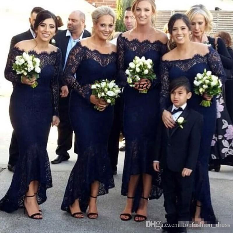 Vintage Lace Navy Blue Mermaid Bridesmaid Dresses Off the Shoulder Tea Length 2019 Custom Made Plus Size Long Sleeves Maid of Honor Gown