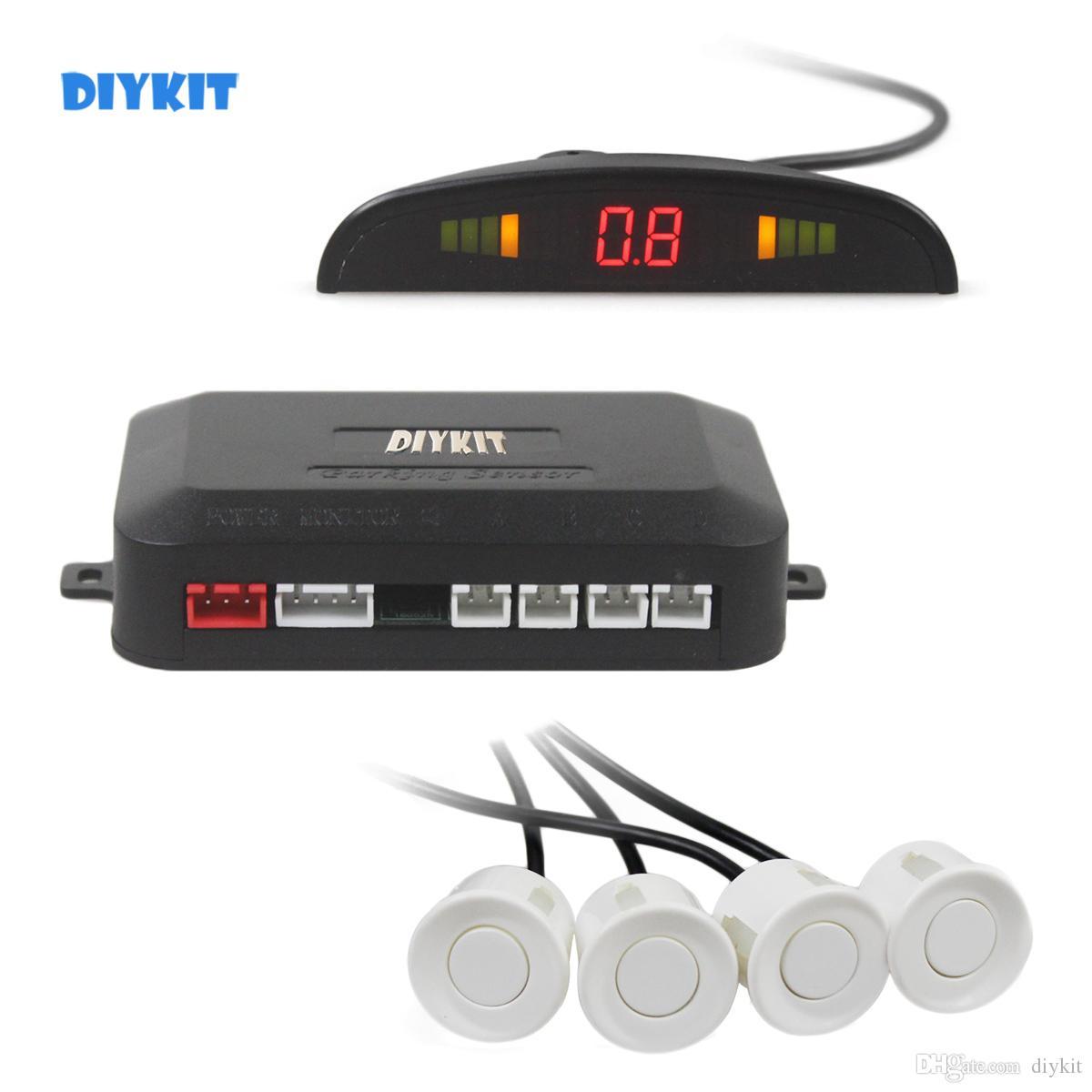 DIYKIT Car Parking Radar Sensors Backup Radar System with LED Backlight Display + 4 Sensors for Car Rear View System Kit
