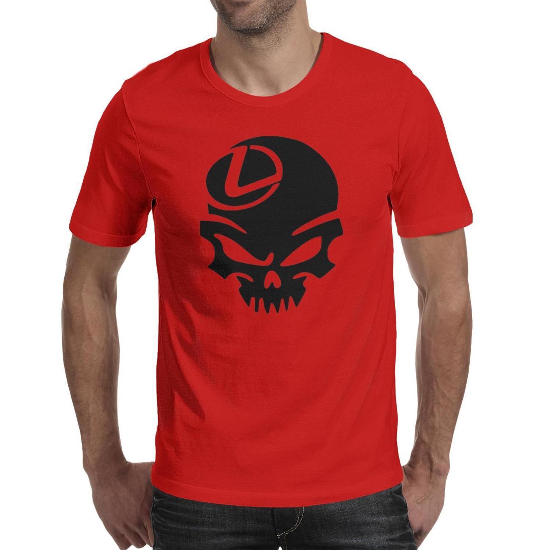 رجل لكزس أدنى الأسود الجمجمة أزياء تي شيرت تصميم مضحك قمصان قطن مطبوعة جولة قصيرة الأكمام تيز مالكي نادي الذهب