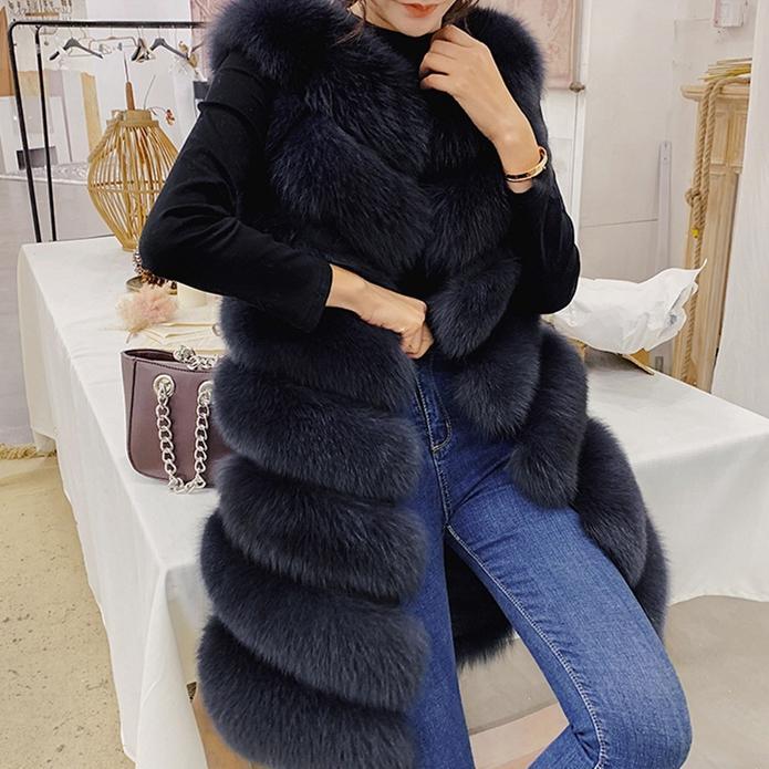 OFTBUY 2020 molla giacca autunno donne vera pelliccia gilet streetwear femminile grande pelliccia di volpe naturale lungo parka manto senza maniche lusso nuovo