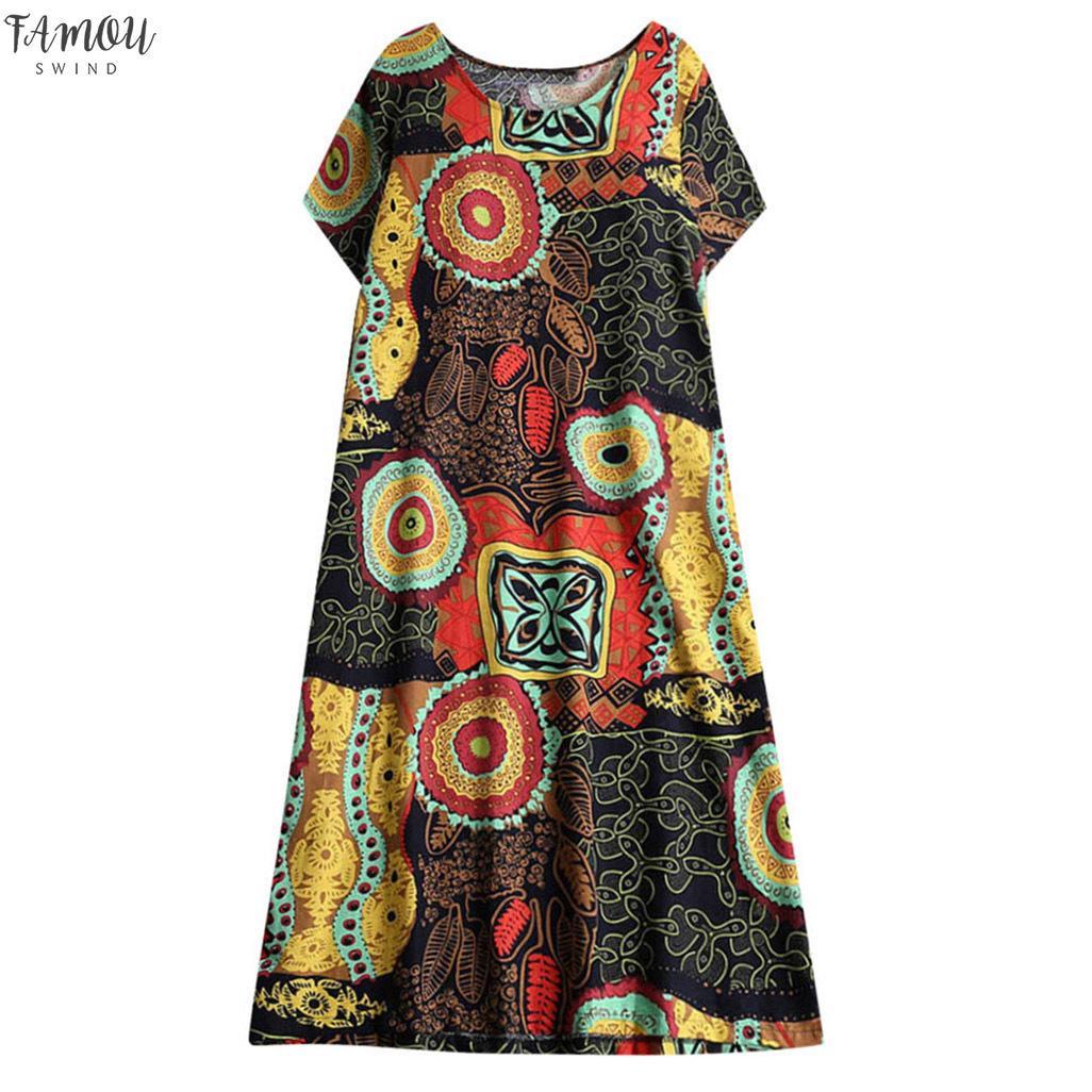 Mujeres se visten de cáñamo algodón Ethnic Print de manga corta de gran tamaño refinado linda Noble tendencia del verano vestido corto