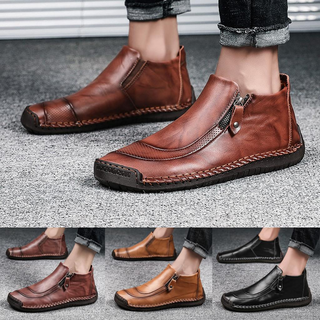 SAGACE New men's casual leather straight large size boots breathable high to help non-slip men's fashion trend dress shoes