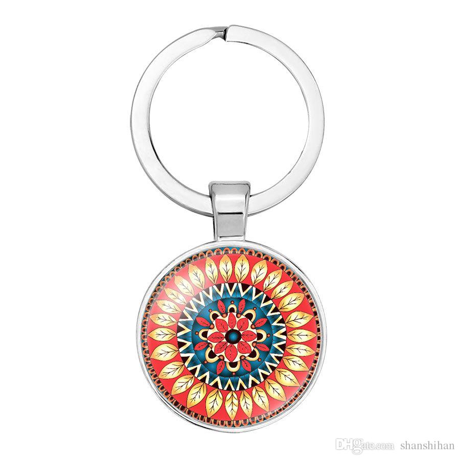2019 new fashion creative hanging keychain accessories Indian religious jewelry pendant Mandala flower yoga time gemstone key ring