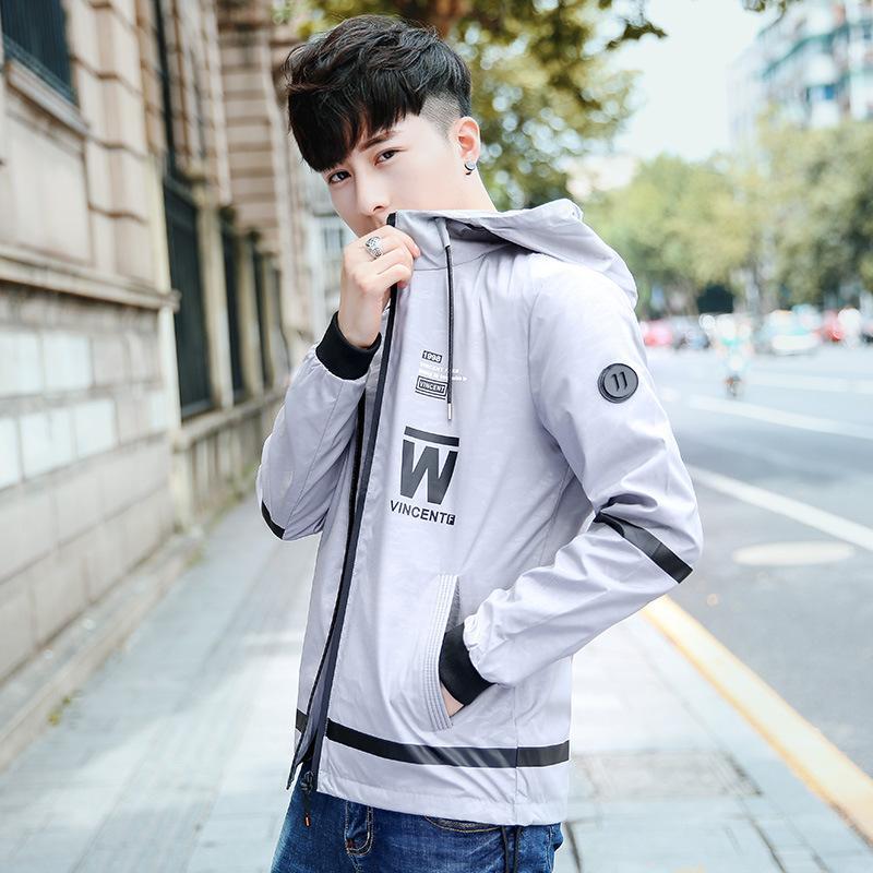 Mode Print Reißverschlüsse Männer Casual Jacke koreanischen Stil Langarm dünne Jacken und Mäntel Slim OverCoat Plus Size