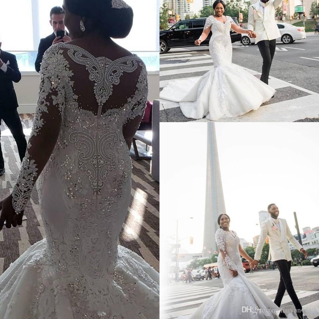New African luxe sirène robes de mariée col en V Illusion manches longues en dentelle perles cristal perles Appliques Plus Size formelle Robes de mariée