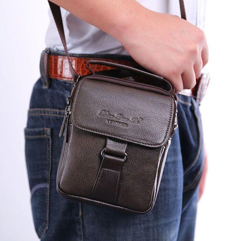 2019 Men Leather Messenger Shoulder Cross Body Bag Fanny Waist Bags Leisure Tote Pursecigarette Case Cell Phone Pocket Y19051802