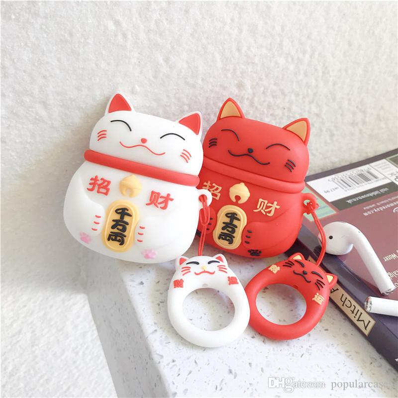 For AirPods Case Protective Cover Hedgehog Shiba Inu Cat Silicone Shockproof Bluetooth Earphone case Headset Accessories Keychain Anti Lost