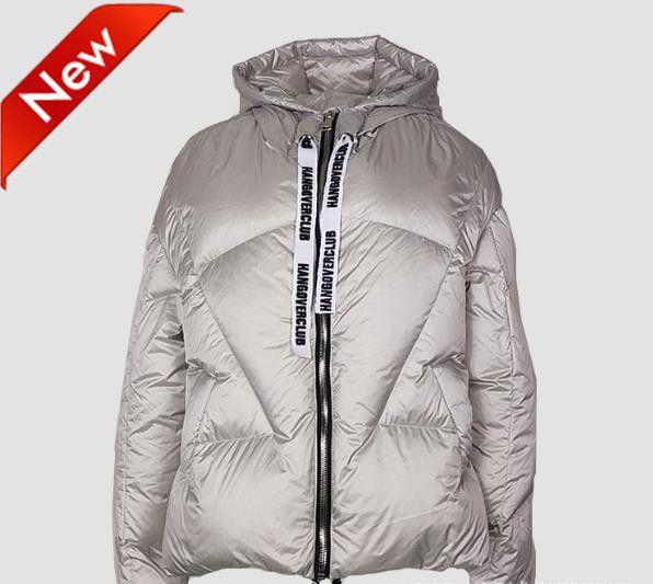 Parka en duvet pour femmes à la mode INS avec capuchon Pain d'hiver léger et léger manteaux en sangle lettre chaude