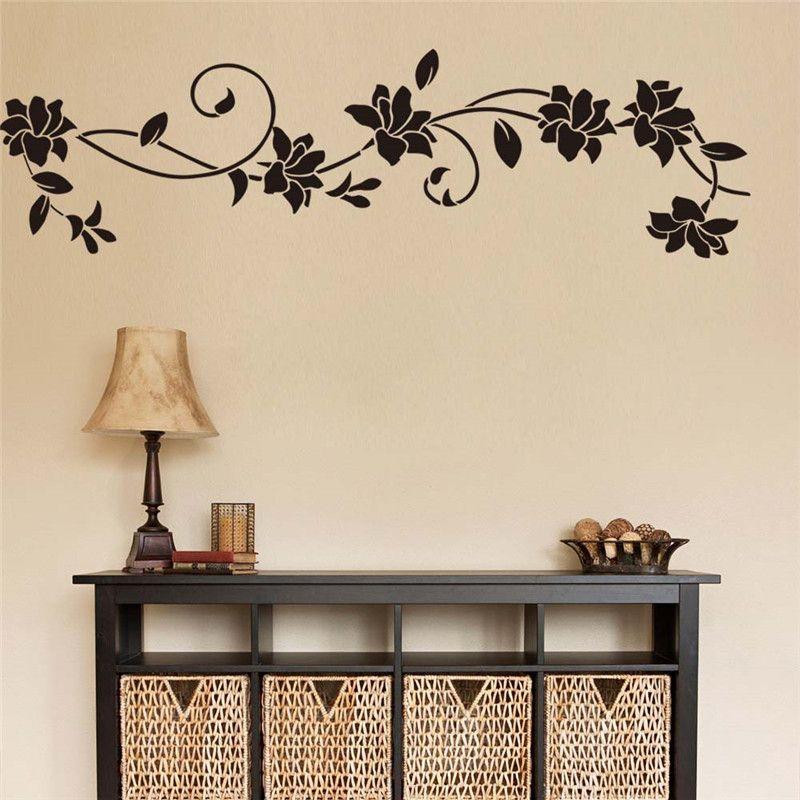 غرفة DIY الفينيل الأسود الزهور زهرة الكرمة الجدار ملصق جدارية لصائق الرئيسية المعيشة الثلاجة ديكور لذيذ جدار الفن جدارية