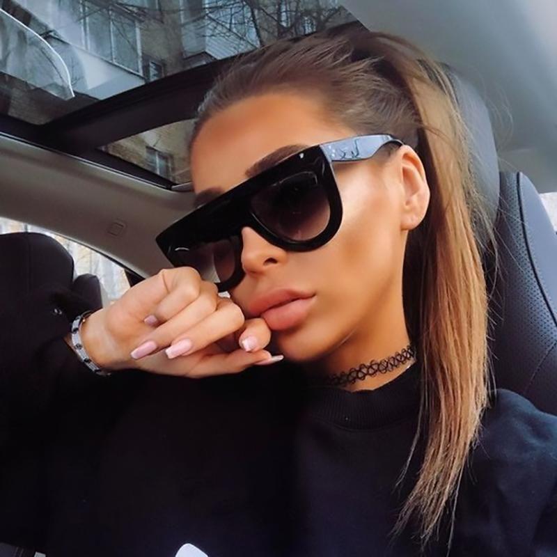 Seksi Siyah Kim Kardashian Güneş Vintage Retro Flat Top Güneş Gözlükleri Kare Pilot Lüks Tasarımcı Büyük Siyah Shades Kadınlar ZBjAm