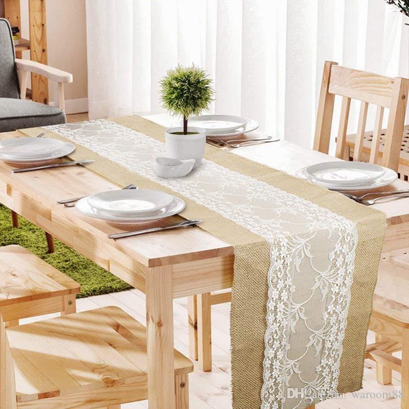 30cm x 275cm Vintage rustique Jute hessois dentelle Table Runners Mariage rustique Décoration naturelle Jute Chemin de Table