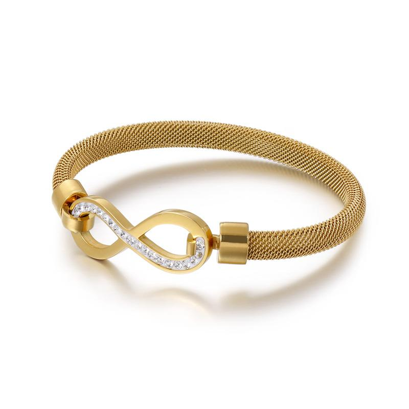 Simple Fashion Stainless Steel Tricolor Number 8 Inlaid With Zircon Closed Bracelet Glamour For Woman Jewelry Wholesale