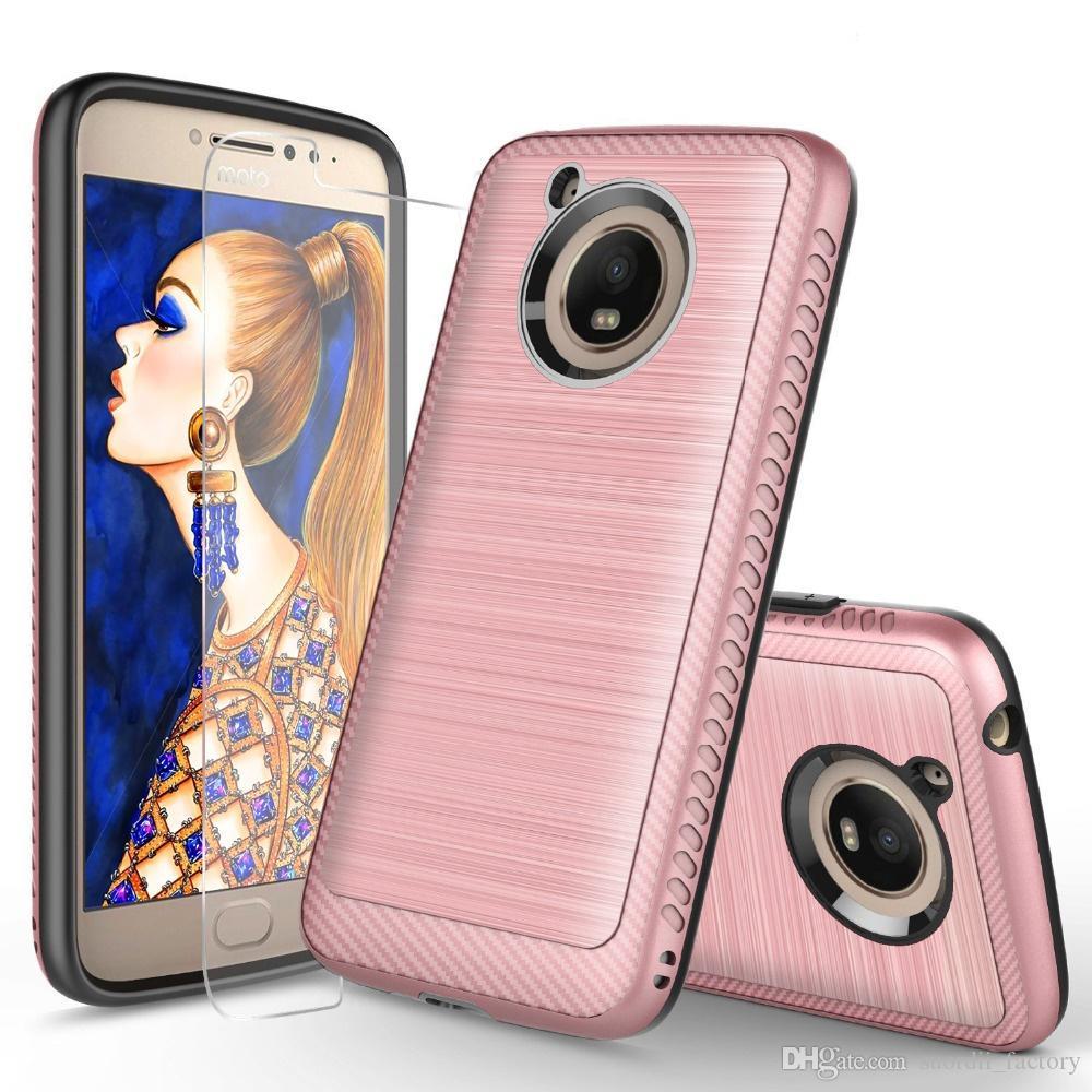 İnce Zırh Telefon Kılıfı Hibrid Zor Ağır Kapak Sağlam Darbeye Koruyucu Koruyucu Motorola moto G6 G5 E5 E4 Z3 artı