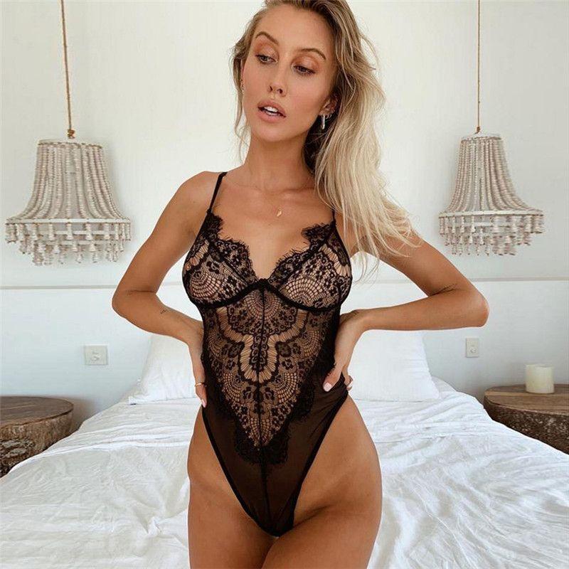 Lace Sexy Body cinghia della biancheria della signora delle donne calde trasparente corpo tuta Catsuit sottile delle tute del Bianco Nero C4584