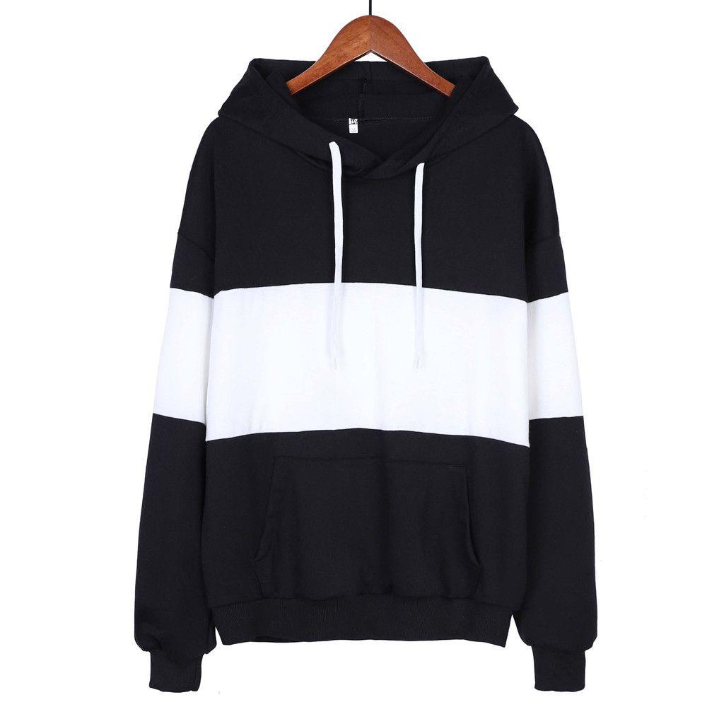 Sweatshirt Women Hoodies Pullover patchwork plus size black white loose tops Ladies casual drawstring jogging running sweatshirt