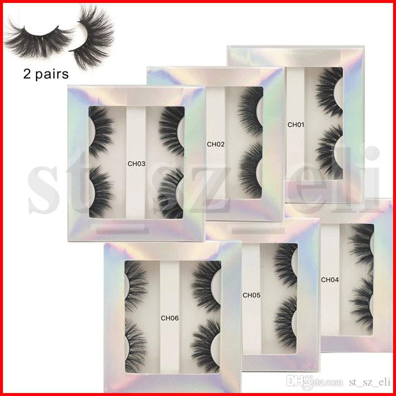 3D Mink eyelash False Eyelashes Natural Long Fake Eyelash Extension Thick Cross Faux 3d Mink Eyelashes Eye Makeup 2Pairs/Set