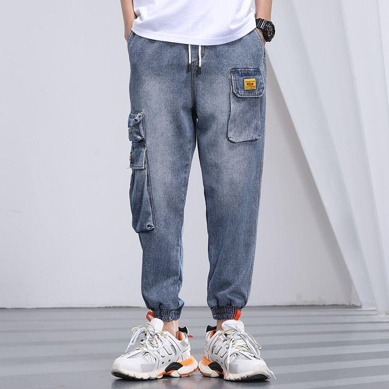 Мужские джинсы мужские мода свободных больших размеров повседневные джинсовые брюки 2021 человек эластичные талии елочные карманные брюки