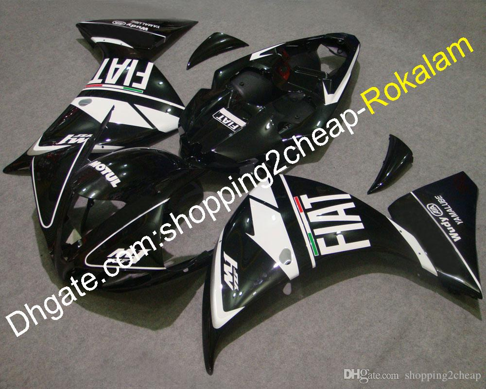 YZF1000-R1 YZF1000 09 10 11 Набор обтекателей для Yamaha YZF R1 2009 2010 2011 Черный гоночный мотоцикл FIAT Кузовной комплект кузова (литьевое формование)