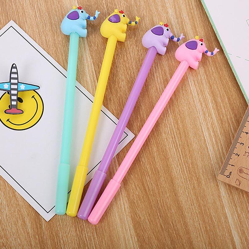 1 Pc Kawaii Material Escolar Escritório Papelaria Alças Criativo Presente Bonito Dos Desenhos Animados Elefante Caneta Gel Doce