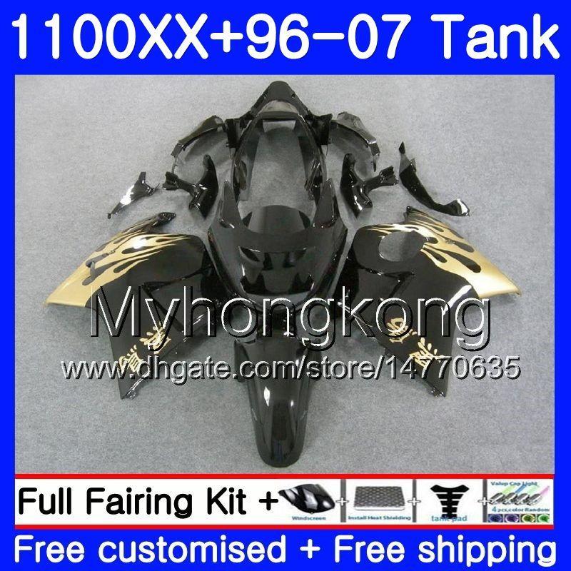 + Tanque para HONDA Blackbird CBR1100 XX Gold flames nuevo CBR1100XX 96 97 98 99 00 01 271HM.18 CBR 1100XX 1996 1997 1998 1999 2000 2001 Carenados