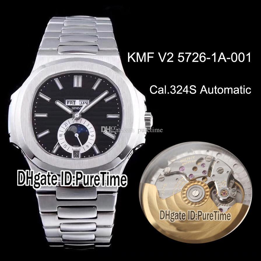 KMF Nautilus 5726 Calendario Anual de fase lunar Cal.324SC automática del reloj para hombre Negro con textura Dial pulsera de acero inoxidable Puretime KPD01a1