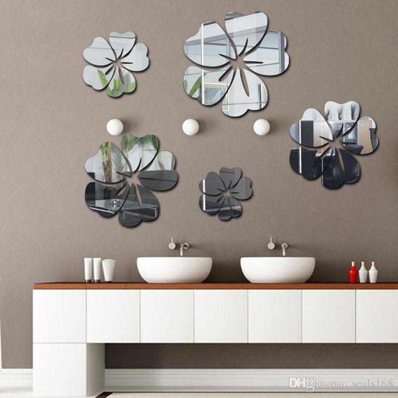 3D مرآة ملصقات الحائط الزهور الفن الحائط القابل للإزالة ملصق الاكريليك جدارية لصائق ديكور غرفة ديكور المنزل droship HH9-2668