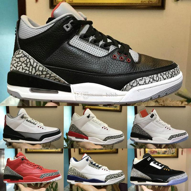 2018 Yeni Varış Jumpman 3 III Siyah Beyaz Moda Rahat Çocuklar Basketbol Ayakkabıları Mens En kaliteli 3 s Kurt Gri Tasarımcı Spor Sneakers