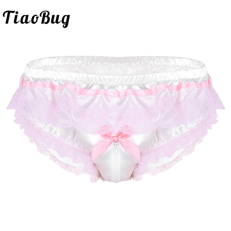 TiaoBug Men Shiny Satin Hot Sissy Höschen Dessous Pink Ruffle Blumenspitze Open Zipper Gabelung High Cut Slips Sexy Homosexuell Unterwäsche