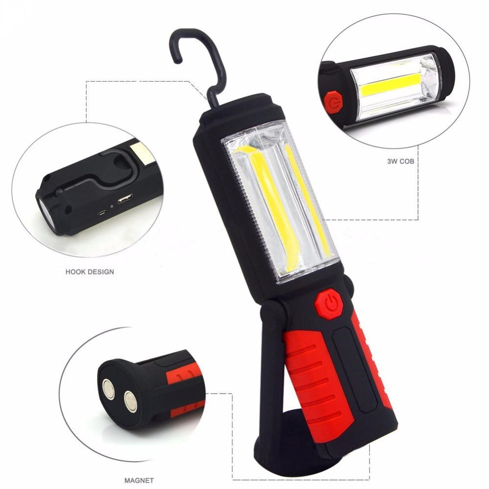 Powerful Portable COB LED Flashlight Magnetic Rechargeable Work Light 360 Degree Stand Hanging Torch Lamp For Work