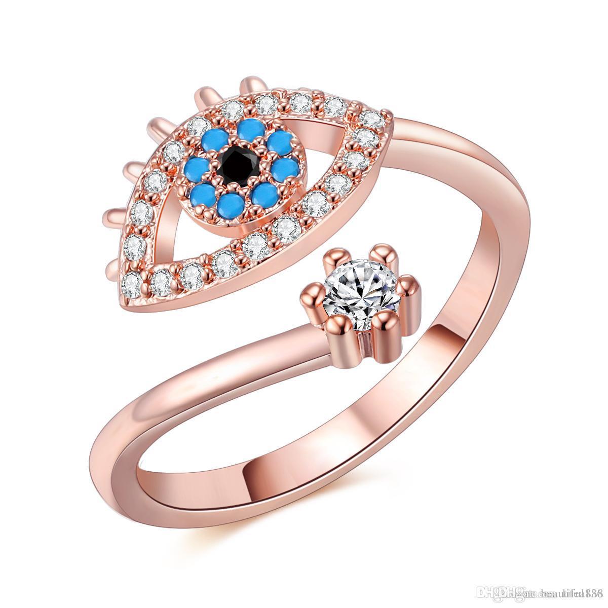 Einstellbare Ring für Frauen Rose Gold Farbe Blau Kristall Bösen Blick Hochzeit Schmuck Mädchen Party Bague Trendy Mode Ringe