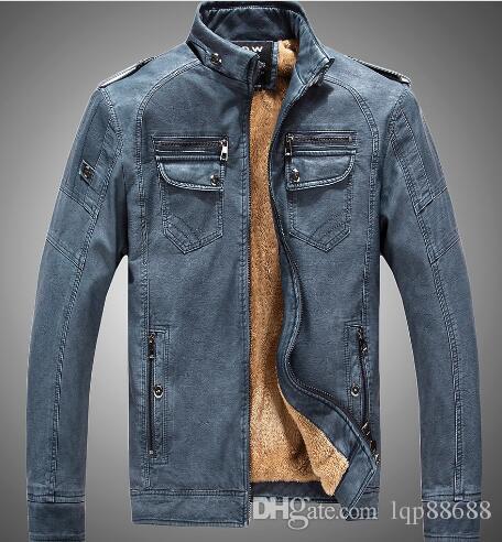 Inverno giovanili abbigliamento maschile in pelle più velluto colletto collo giacca calda Capispalla Cappotti