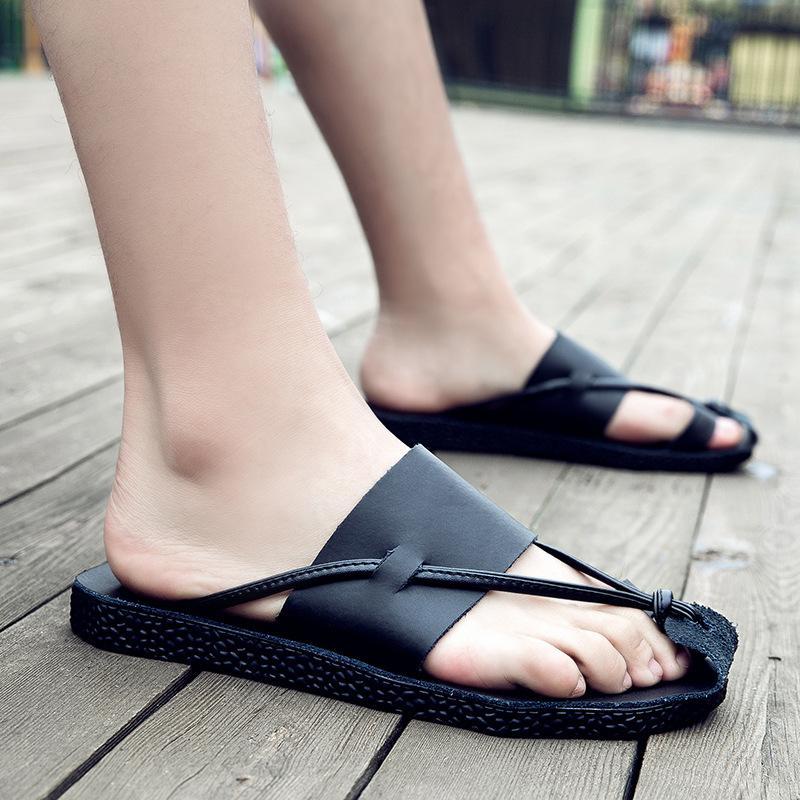 Genuine scarpe pantofole di disegno di estate di modo pantofola in pelle man per ragazzi antiskid diapositive casuale esterno c456 sandalo