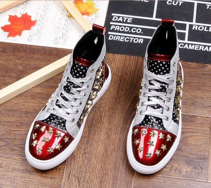Men brand designer rivet American flag shoes Causal Flats Moccasins 2020 Male High Top Rock hip hop mixed color shoes For Man