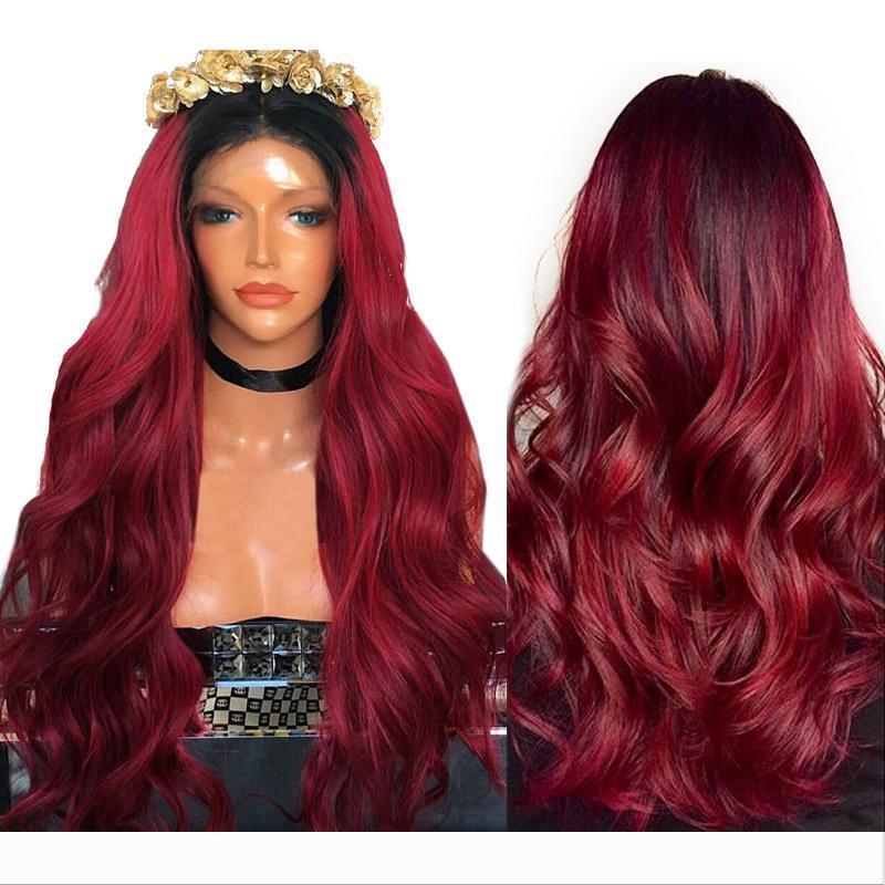Hot Sexy Burgundy Red onda do corpo Longo Ombre perucas com cabelo do bebê Synthetic Glueless brasileira rendas frente perucas para mulheres negras resistente ao calor