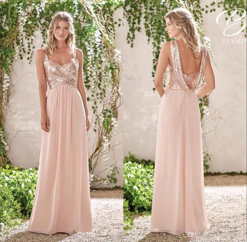 Розовое золото платья невесты линия спагетти спинки блестки шифон дешевые Лонг-Бич свадьба гость подружки невесты платье горничной платья