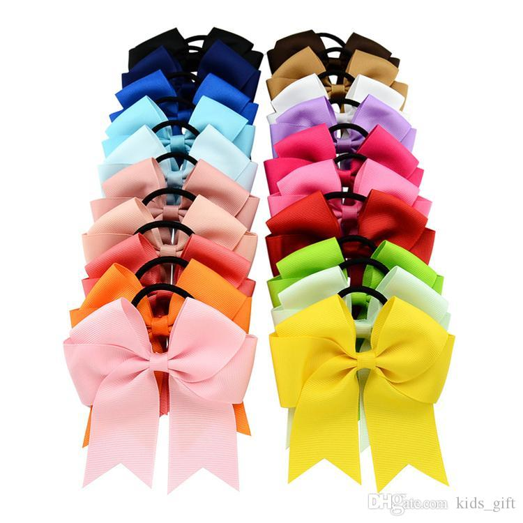 20 Colors 4.5 Inch Solid Cheerleading Ribbon Bows Grosgrain Cheer Bows Tie With Elastic Band Girls Rubber Hair Band FJ442