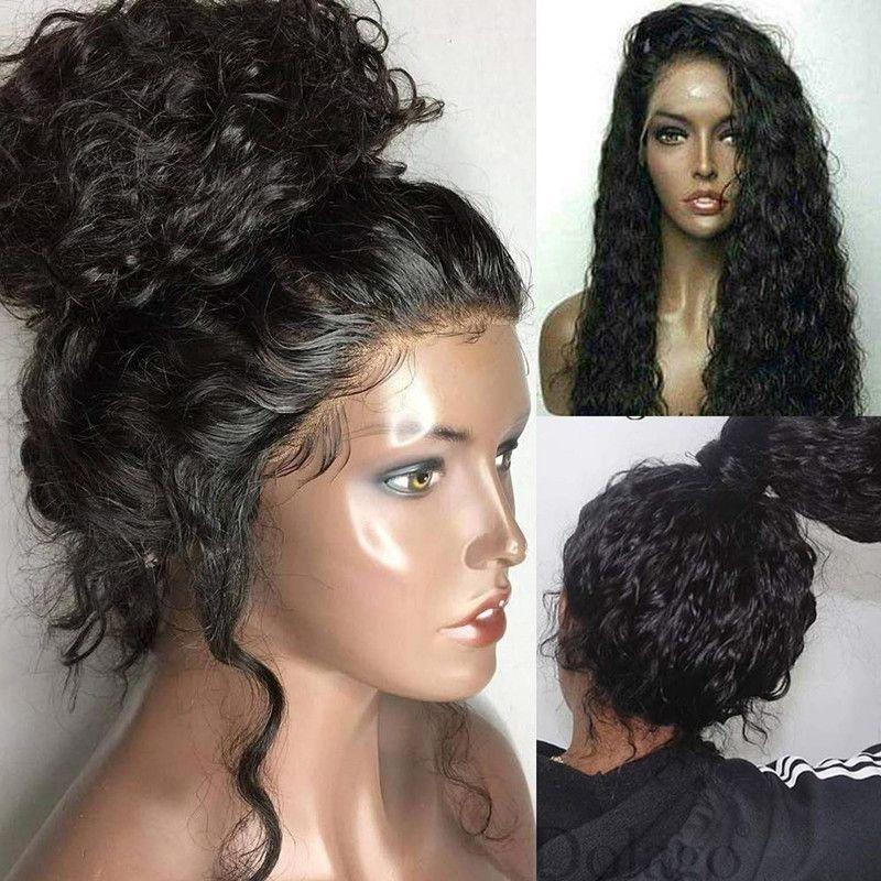 Dentelle douce perruque brune noire black glueless longue vague frisée fibre résistante à la chaleur dentelle de dentelle synthétique perruque naturelle bébé cheveux noirs prépuré