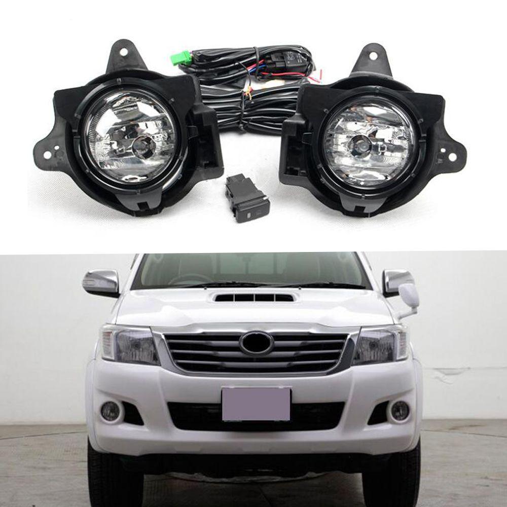 سيارة الجمعية الضباب الخفيف عدة للحصول على تويوتا هيلوكس فيغو 2012-2016 12V DRL الجبهة الوفير هالوجين LED مصابيح الضباب كيت