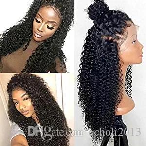 Parrucche frontali in pizzo a densità 180% 360 per le donne nere Parrucca riccia in pizzo pre brasiliana riccia 360 Parrucche glueless di capelli umani con i capelli del bambino