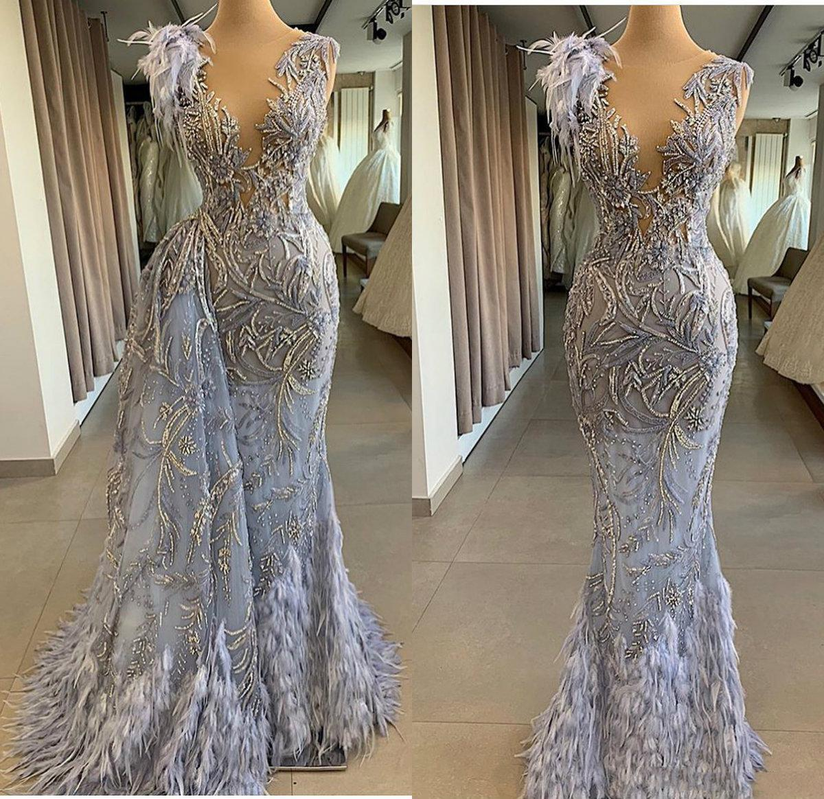 2020 Arabic Blue Evening Dresses With Detachable Train V Neck Lace Beads Feather Mermaid Prom Dresses Floor Length Formal Party Gowns