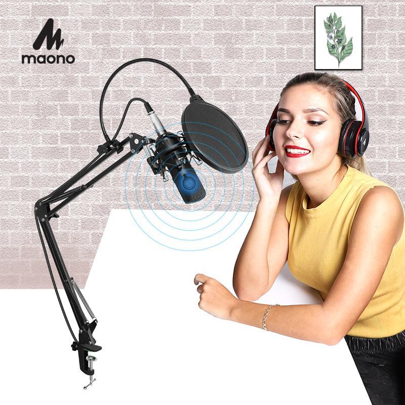 MAONO AU-A03 المهنية استوديو ميكروفون كيت المكثف القلبية microfono بودكاست مايكروفون للألعاب الكاريوكي يوتيوب تسجيل T191021
