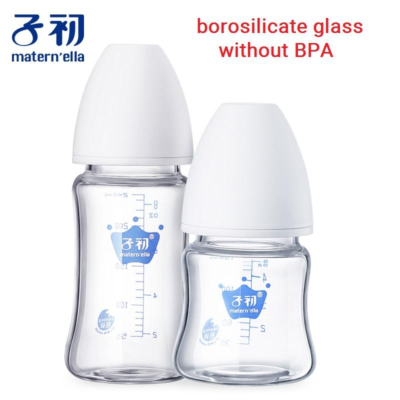 Garrafas matern'ella Bebê vidro de leite de alimentação de armazenamento de leite boca larga infantil de água Crianças de enfermagem o bico Chupeta garrafas de bebida