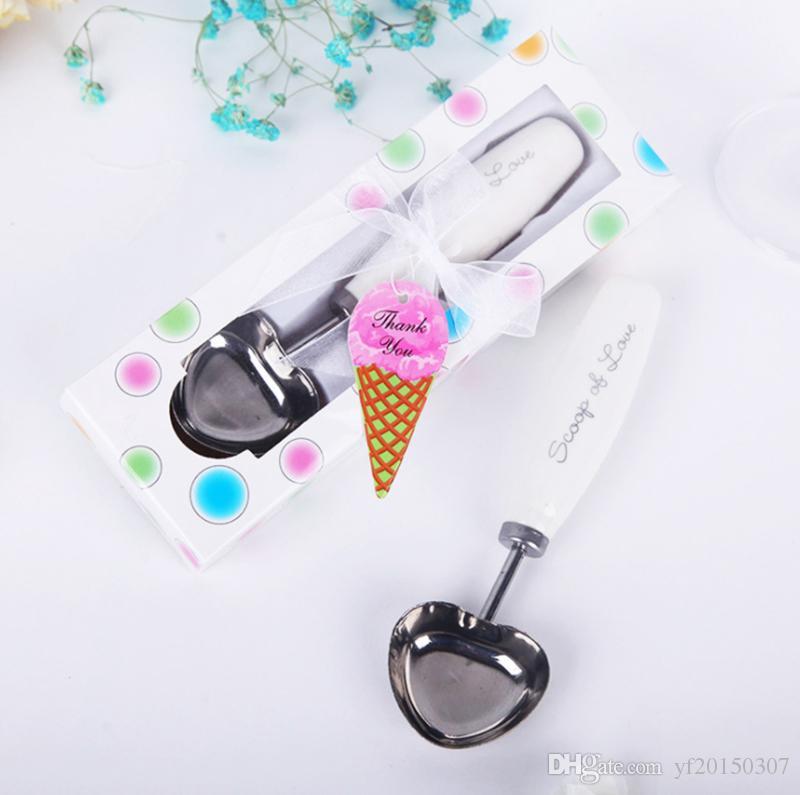 Cucharas de helado en caja de regalo Regalo de boda Cuchara de helado de acero inoxidable con adornos de cerámica con asa